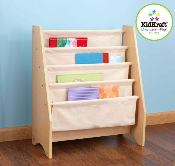 Bibliothèque à compartiments bois et tissu